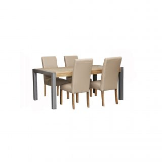 Barmera 5 Piece Dining Suite + 4 Miller PU Chairs (Light)