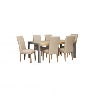 Barmera 7 Piece Dining Suite + 6 Miller PU Chairs (Light)