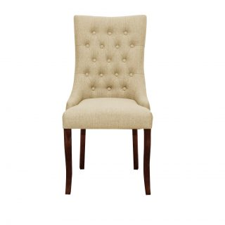 Jasper Fabric Chair in Bristle Beige with Dark Walnut Legs