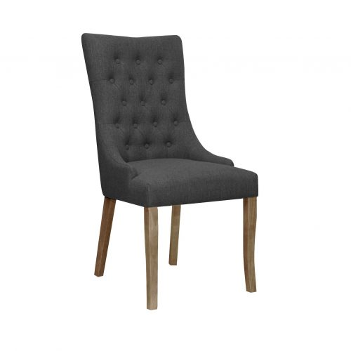 Jasper Fabric Chair in Graphite Grey with Aged Oak Legs