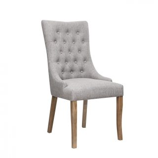 Jasper Fabric Chair in Stone Grey with Aged Oak Legs