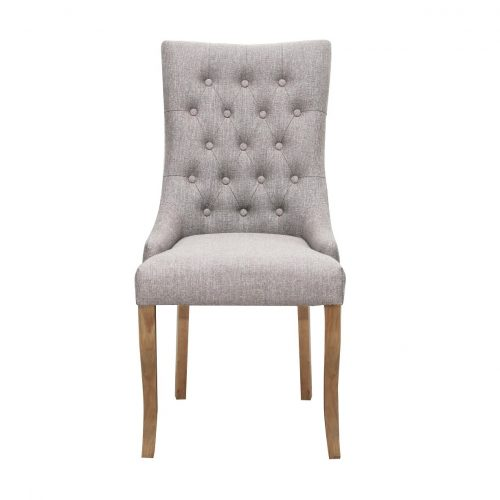Jasper Fabric Chair in Stone Grey with Aged Oak Legs