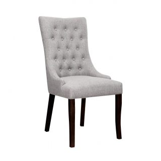 Jasper Fabric Chair in Stone Grey with Dark Walnut Legs