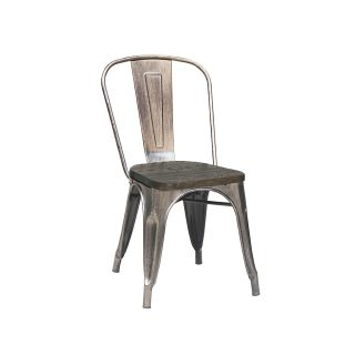 Panel Back Steel Chair with Wooden Seat