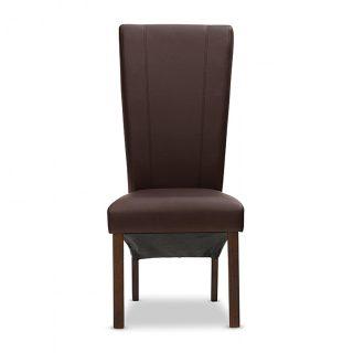 Carter 100% Leather Chair in Espresso - Dark Walnut Legs