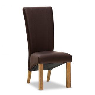 Carter 100% Leather Chair in Espresso - Aged Oak Legs