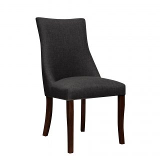 Hudson Fabric Chair in Graphite Grey with Walnut Legs